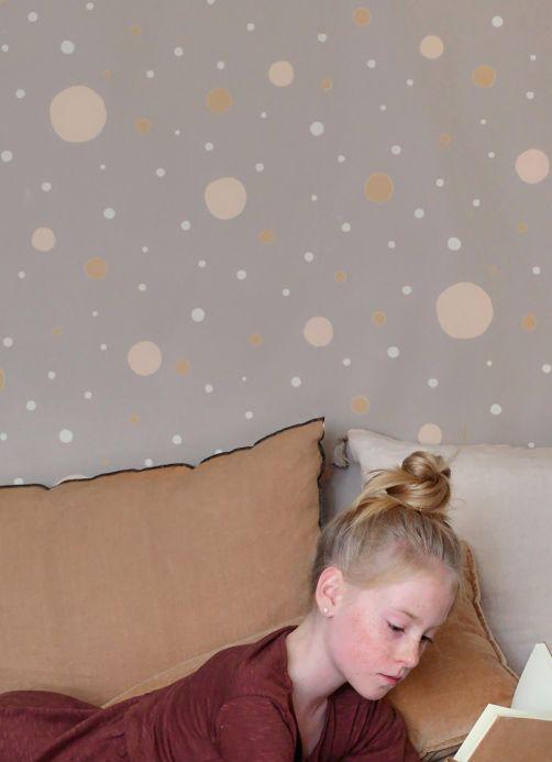 Designers Papier peint Confetti beige gris Vue pièce
