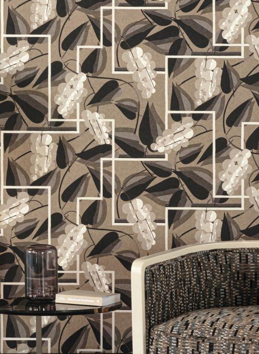 Art Deco Wallpaper Wallpaper Genevieve grey tones Room View