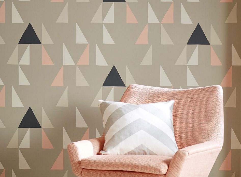 Geometric Wallpaper Wallpaper Deneris light pink Room View