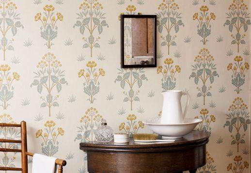Papel pintado Hemera turquesa menta Ver habitación