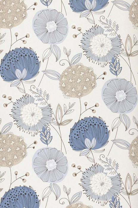 Wallpaper Eunonia Matt Flowers Cream Beige Pale grey blue Blue Black