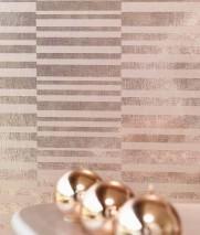 Wallpaper Mandarava Metallic effect Cross stripes Light brown metallic Beige brown