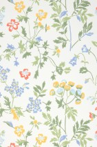 Wallpaper Lolla Hand printed look Matt Field flowers White Brilliant blue Shades of green Coral red Maize yellow