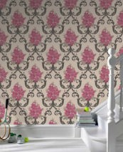 Wallpaper Thelma Matt Flowers Floral damask Light ivory Heather violet Grey