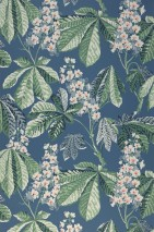 Wallpaper Junes Matt Leaves Blossoms Chestnuts Azure blue Pale blue Cream Pine green Rose