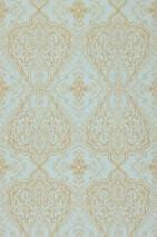 Papel pintado Rosmerta Efecto lino fino Mate Damasco oriental Turquesa pastel Oro