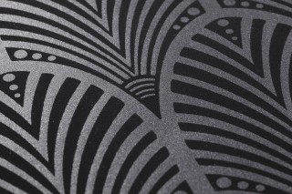 Wallpaper Lyria Matt pattern Shimmering base surface Art Deco fans Dark grey shimmer Black