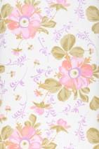 Wallpaper Barbara Matt Blossoms Cream Beige Salmon red Ochre Ochre brown Red purple