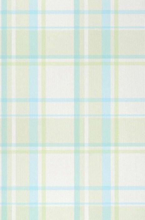 Papier peint Mika Mat Écossais Blanc crème Vert jaune pâle Turquoise pastel