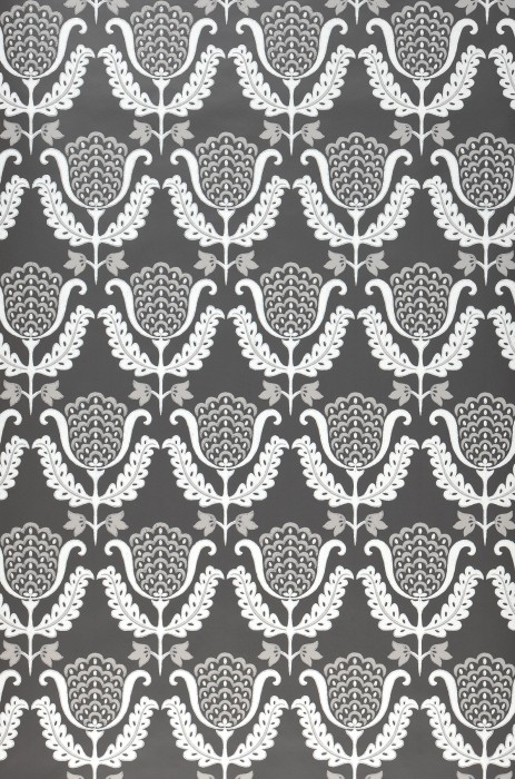 Wallpaper Zarina Hand printed look Matt Art nouveau Stylised flowers Umbra grey Stone grey White