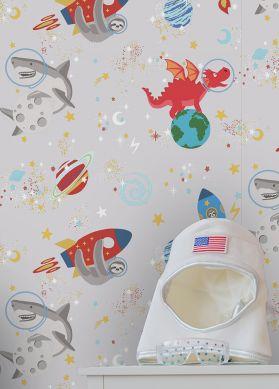 Papier peint Lorenzo blanc gris Vue pièce