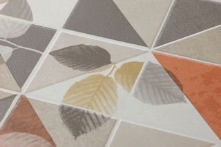 Papel de parede Waldivia Mate Folhas Elementos geométricos Bege Marrom Branco creme Cinza Marrom alaranjado