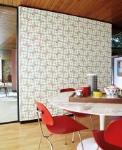 Wallpaper Loki Matt Stylised flowers Pastel turquoise Cream Red