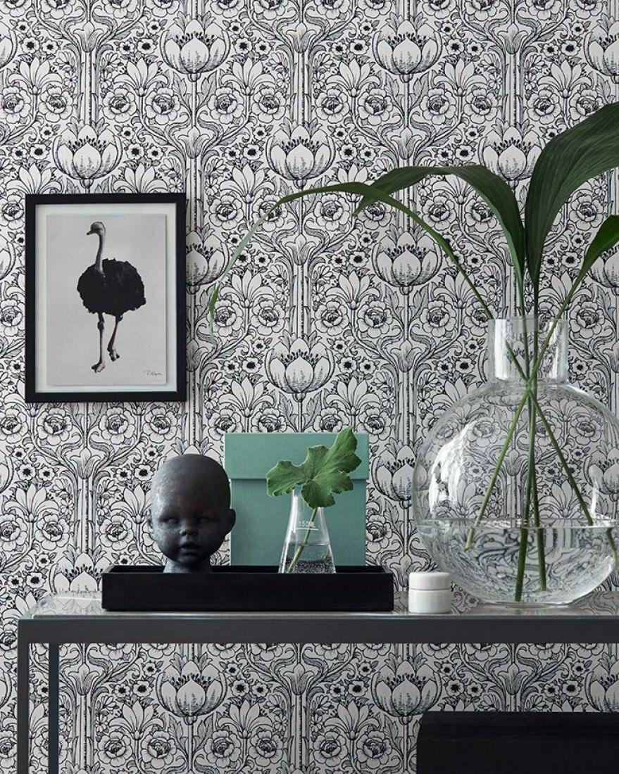 dorothea blanc noir papier peint floral motifs du papier peint papier peint des ann es 70. Black Bedroom Furniture Sets. Home Design Ideas