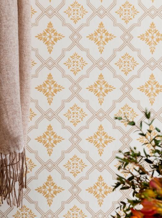 Papel de parede Lavinia Efeito estampado à mão Mate Damasco histórico Losangos Branco creme Bege acinzentado Amarelo ocre