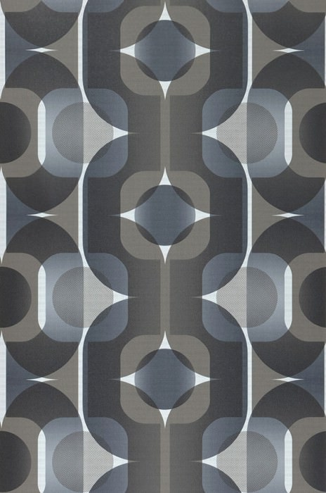 Wallpaper Sinon Matt Retro elements White Graphite grey Grey beige Grey brown