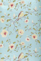 Wallpaper Sanja Matt pattern Shimmering base surface Magnolia branches Birds Pastel turquoise pearl lustre Brown Cream Green