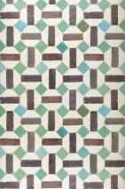 Wallpaper Toro Shimmering Imitation tiles Cream Dark brown Light blue Patina green