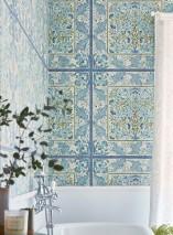 Papel de parede Jella Mate Imitação de azulejo Damasco floral Damasco art nouveau Marfim claro Azul esbranquiçado Marrom pálido Tons de azul Verde oliva Branco