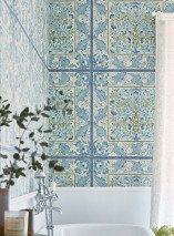 Wallpaper Jella Matt Imitation tiles Floral damask Art nouveau damask Light ivory White blue Pale brown Shades of blue Olive green