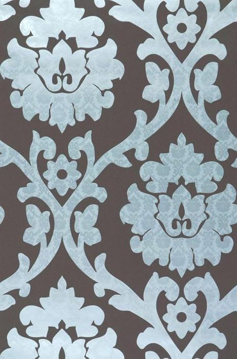 Papel pintado Maresa Patrón brillante Superficie base mate Damasco barroco Marrón grisáceo Azul grisáceo claro Plata lustre