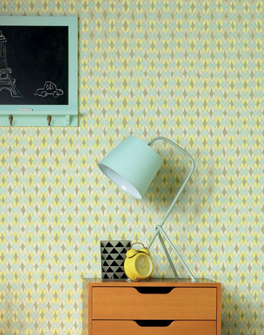 Carta da parati tilos bianco crema giallo brillante for Carta parati verde