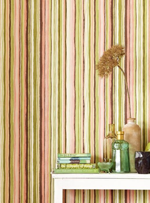 Wallpaper Zeno Matt Stripes Beige Beige red Fern green Sepia brown