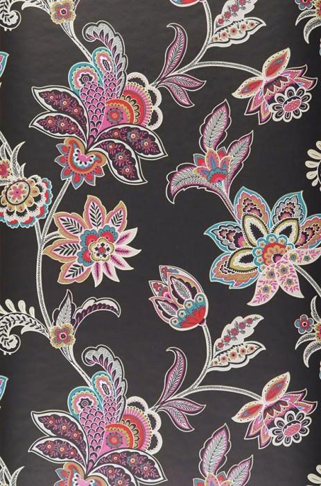 Wallpaper Marcia Matt Stylised flowers Black Grey white Pink Red Turquoise
