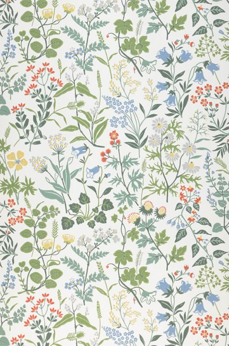 Wallpaper Aislinn Hand printed look Matt Field flowers Cream Shades of green Light yellow Light grey Pastel blue Red orange