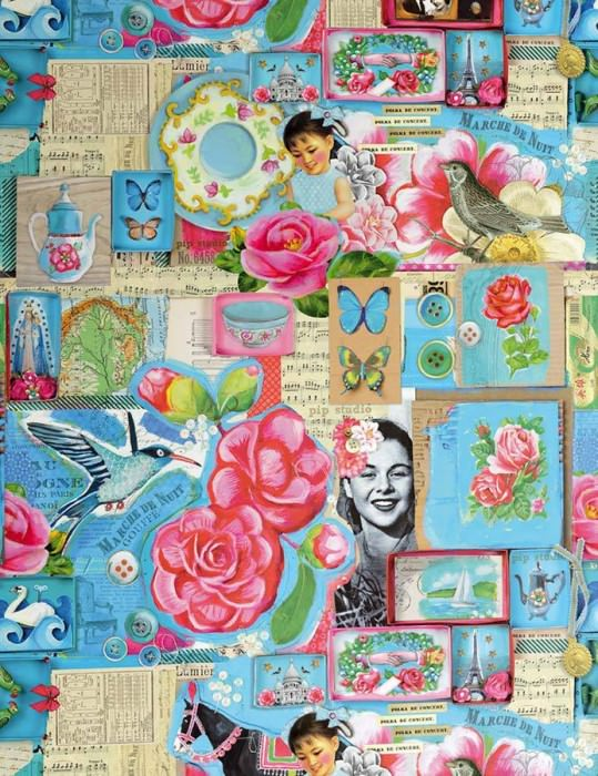 Wallpaper Prowe Matt Old photos and postcards Flowers Vintage pictures Birds Brown beige Strawberry red Yellow green Light blue
