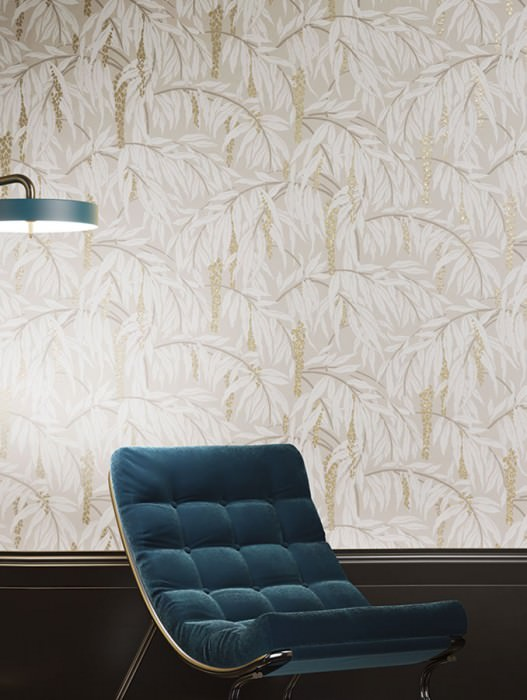 Wallpaper Maringa Hand printed look Matt Branches with leaves and blossoms Beige grey Cream Grey brown Pearl gold