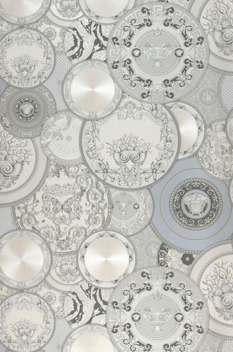 Papier peint baroque Papier peint Noell gris clair brillant Largeur de lé