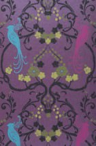 Wallpaper Bellona Matt Shimmering base surface Floral damask Birds Violet shimmer Heather violet Yellow green Black brown Turquoise