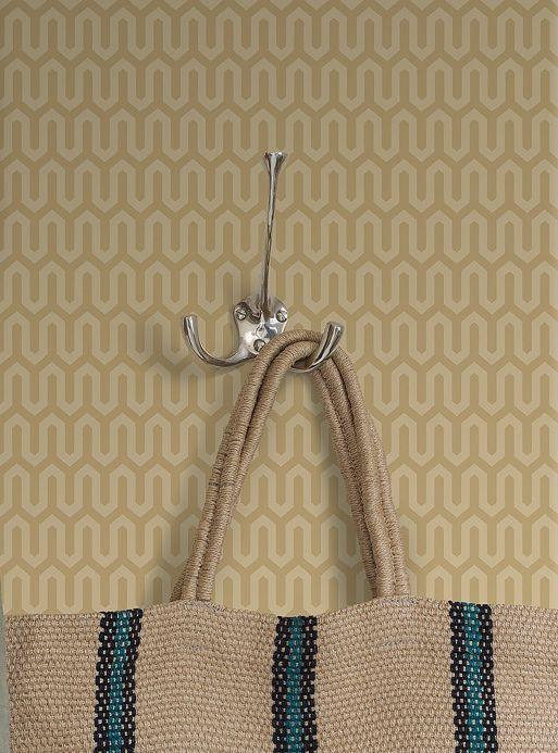 Geometric Wallpaper Wallpaper Hermod light brown beige Room View
