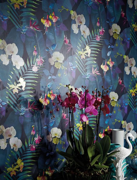 Turquoise Wallpaper Wallpaper Zoe black blue Room View