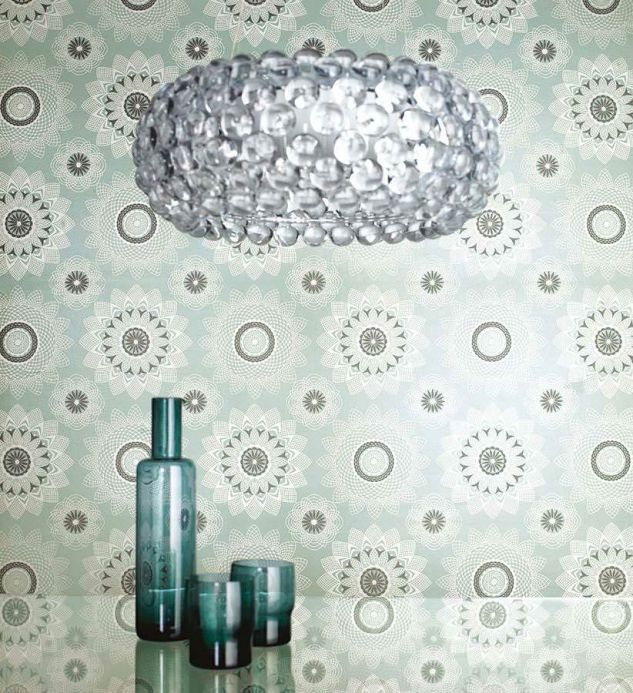 Archiv Wallpaper Poseidon mint turquoise Room View