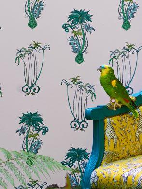 Papel pintado Jungle Palms tonos de verde Ver habitación