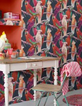 Wallpaper Cacadu Matt Parrots Black grey Cream Green Orange red Rose Violet