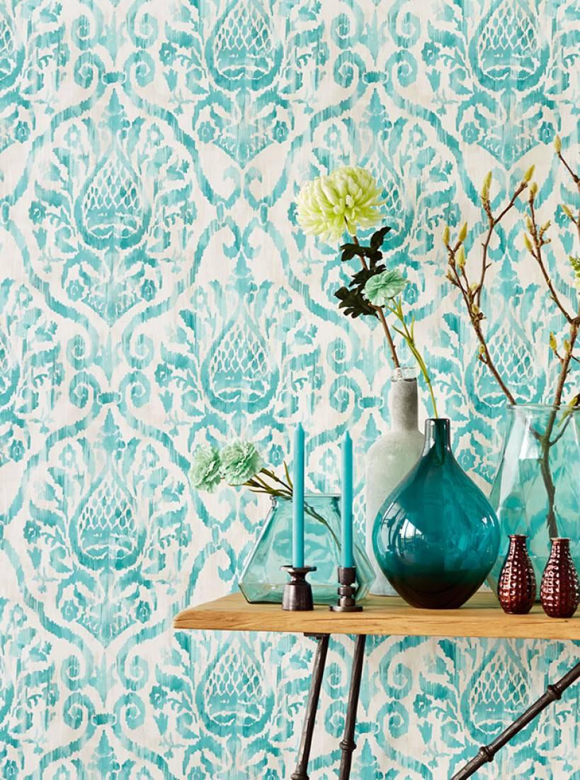 Papel pintado esiko blanco crema beige gris ceo claro for Papel pintado azul turquesa