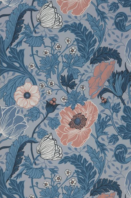 Floral Wallpaper Wallpaper Soria shades of blue Roll Width