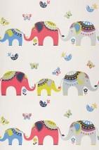 Papel pintado Elephants Mate Elefantes Mariposas Pájaros Blanco Azul Rojo fresa Verde amarillento Plata