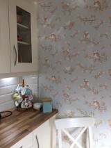 Wallpaper Sugar Tree Hand printed look Matt Flowers Birds Blue white Cream Fawn brown