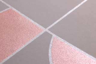 Tapete Otavio Muster schimmernd Untergrund matt Art Deco Geometrische Elemente Grau Grauweiss Schimmer Perlkupfer