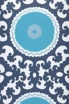 Papel pintado Aton Mate Elementos barrocos Círculos Blanco azulado  Azul oscuro Plata Turquesa