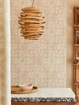 Papier peint Ragusan Mat Damassé floral Beige gris Ivoire clair