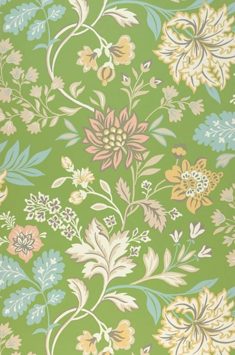 Wallpaper Ebba Hand printed look Matt Flower tendrils Pea green Beige red Light blue Light grey beige Sand yellow Umbra grey
