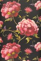 Wallpaper Meila Matt Leaves Flowers Black Yellow green Light pink Red Violet blue