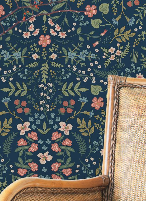 Papel de parede floral Papel de parede Wildwood azul aço Ver ambiente
