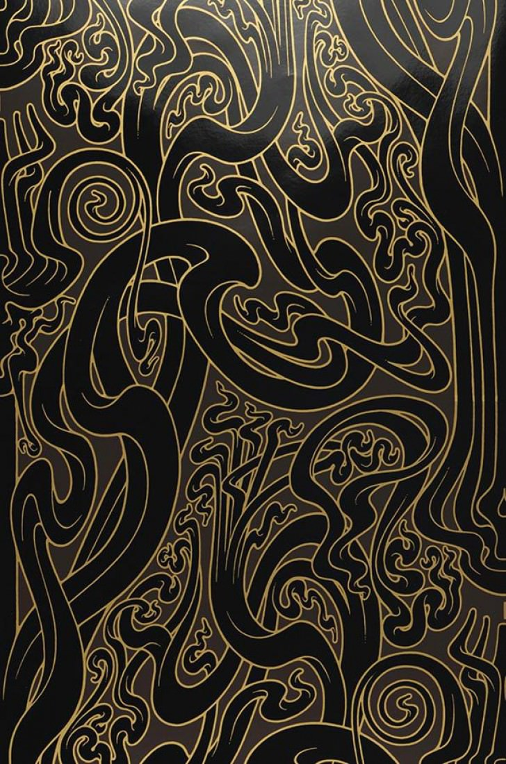 Wallpaper Flower Of Love Shimmering Stylised Climbing Plants Mocha Gold Black Lacquer Roll Width