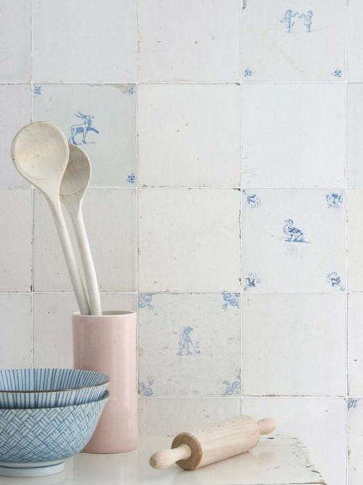 Papel pintado Tiles Mate Baldosas viejas Azul pálido Blanco parduzco Blanco crema Blanco grisáceo